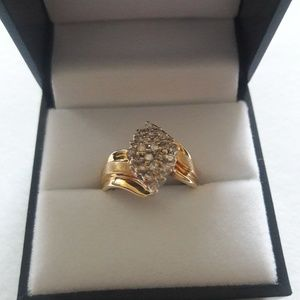 10k solid yellow gold .75tcw genuine diamond's siz